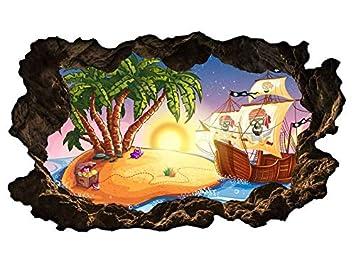3d Wandtattoo Kinderzimmer Cartoon Pirat Piratenschiff Insel Wasser