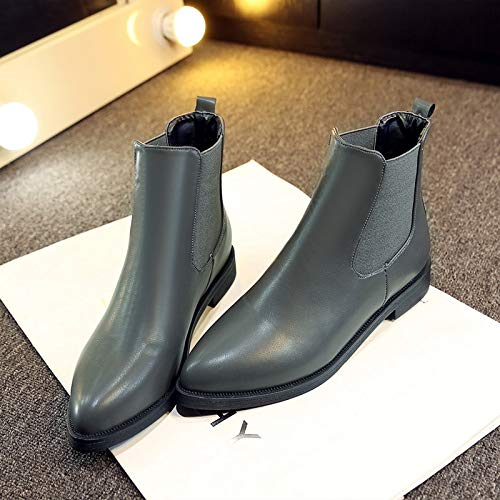 JingZhou 2018 Winter Boots Women Ankle Pointed Toe Ladies Leather Fashion Size 36-40