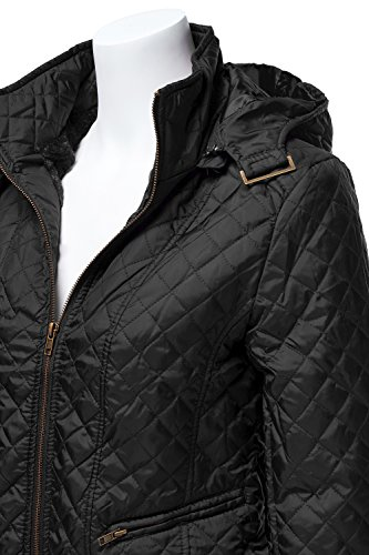 Quilted Padding Hoodie with Fur Lining Zip Up Jackets