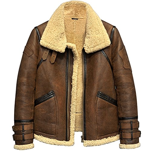 Men's Shearling Jacket B3 Flight Jacket Fur Leather Jacket Imported Wool from Australia Men's Sheepskin Aviator Coat (L, Brown)