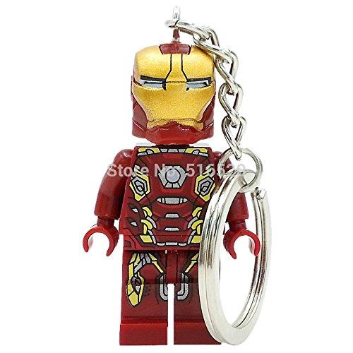 Iron man Super Hero Key chain Minifigures Keychain Key Ring DIY Customize Keychains Building Blocks Toys Gift Children