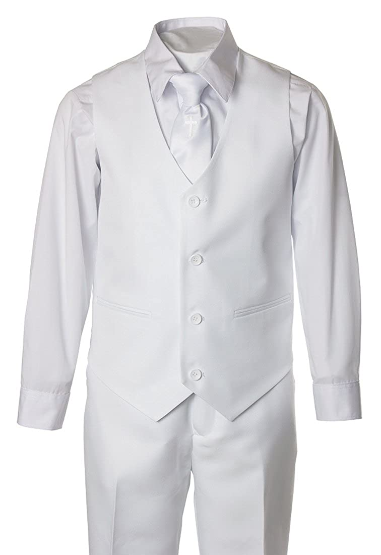 Toddler /& Boys Boys White Suit with Religious Cross Neck Tie in Baby