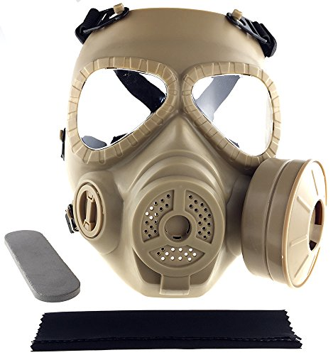 SportPro M04 Dummy Gas Mask Protection Full Face Fan Mask for Airsoft - Tan -