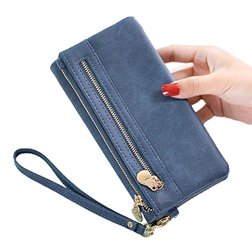 Women RFID Blocking Leather Wallet Large Capacity Clutch Purse Cash Coin Phone Multi Card Organizer with Removable Wristlet Strap (Navy blue) by Hilinker