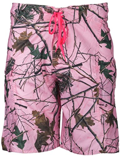 Womens Trail Crest Camo and Neon Water Board Shorts (Small)