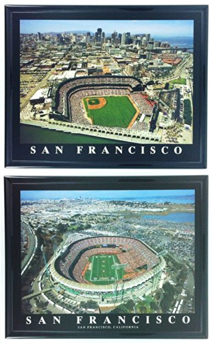 Framed San Francisco Giants and 49ers - AT&T and Candlestick Park Aerial Photograph Prints (Set of 2)