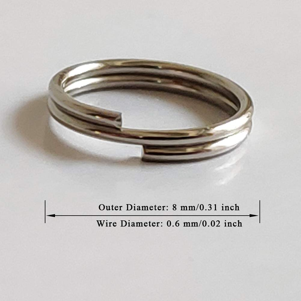 Silver WUBOECE 300 PCS 8mm Metal Split Ring Nickel Plated Small Key Chain Ring Part for Connecting Clasps Charms Links and Ornament Crafts