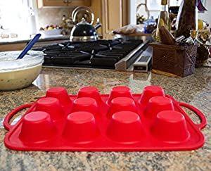 Sturdy Handle & Non Stick European LFGB Silicone Muffin & Cupcake Baking Pan - Easy To Carry Patented Metal Reinforced Molds - Bake Boss 12 Cups BPA Free Bakeware Tins - Dishwasher Safe Cake Trays