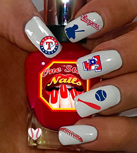 (Rangers water-slide nail decals (tattoos) V1. Set of 66. (OSN1))
