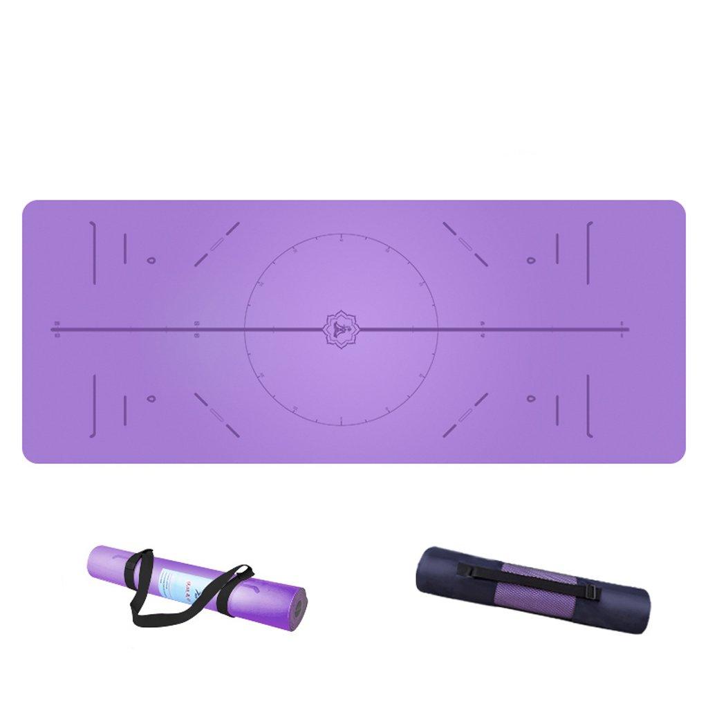 5ミリメートル天然ゴムpuのフィットネス滑り止めヨガマットが広がる (色 : Cool black, サイズ さいず : A) B07F2558VW A|Elegant purple Elegant purple A