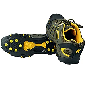 Ice Grips,Crampons Non-slip Ice & Snow Grips Cleat Over Shoe/Boot Traction Cleat Rubber Spikes Anti Slip 10 Steel Studs Slip-on Stretch Footwear for hiking and walking (M)