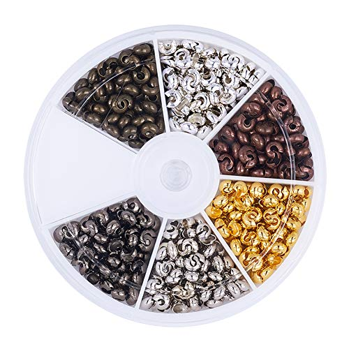Antique Brass Crimp Bead - Pandahall 1Box/450pcs 6 Colors 4mm Brass Half Round Open Crimp Beads Covers Knot Covers Beads End Tips for Jewelry Makings Antique Bronze & Red Copper & Black & Silver & Golden & Platinum