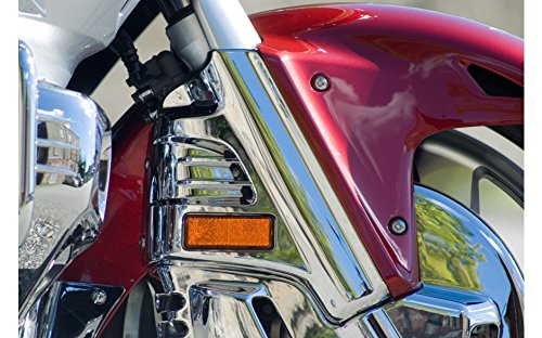 Add On Accessories 45-1293 Gold Wing GL1800 Chrome Fork Covers with amber reflectors