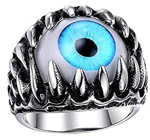 Punk Ring Devil Eye Shape Band Rings for Men US11