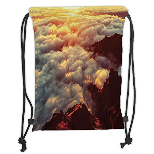 Custom Printed Drawstring Sack Backpacks Bags,Clouds,Sunset on the Hill Tops above the Clouds Unusual Extreme Morning Glory Print,Orange White Brown Soft Satin,5 Liter Capacity,Adjustable String Closu by iPrint