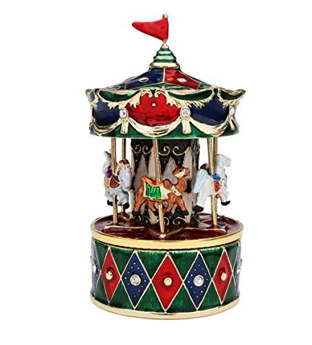 Revolving Animals Carousel Music Box - Plays