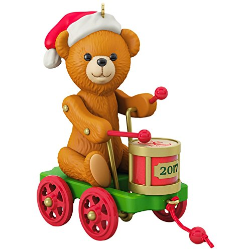 Hallmark Keepsake 2017 Santa Certified Toy Bear and Toy Drum Pull Toy Christmas Ornament (Christmas Ornament Teddy Bear Tree)