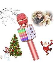 SunTop karaoke-microfoon, bluetooth, draadloos, multifunctionele luidspreker met gekleurd LED-licht, geïntegreerde luidspreker voor karaoke-speler, draadloze microfoons voor KTV thuis / avond LED-Rose Gold