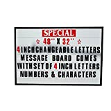 48''x32'' Outdoor Changeable Letter Message Board Marquee Sign with Metal Frame - Clear Acrylic Protection Cover and 4 Inch Letters Set!