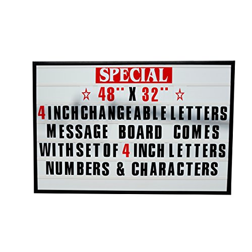 48''x32'' Outdoor Changeable Letter Message Board Marquee Sign with Metal Frame - Clear Acrylic Protection Cover and 4 Inch Letters Set! by Mysignboards