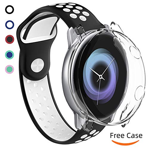 for Samsung Galaxy Watch Active Bands, Soft Waterproof Silicone Sport Watch Strap and TPU Case, 20mm Replacement Wristband with Screen Protector