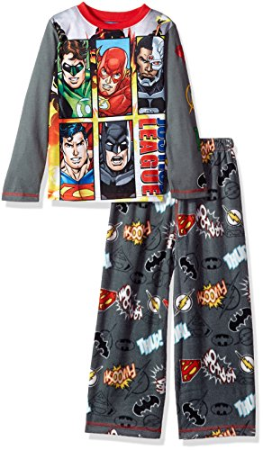 DC Comics Big Boys' Justice League 2-Pc Pajama Set, Long Sleeve With Pant, Black, 10/12
