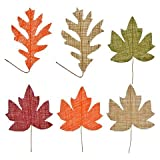 Fall Crafter's Square Burlap Leaves with Stems, 5-ct. Packs Assorted Among The 6 Styles Shown by Fun Party Daze