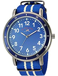 Men's Stainless Steel Quartz Watch with Nylon Strap, Blue, 24 (Model: US7008)