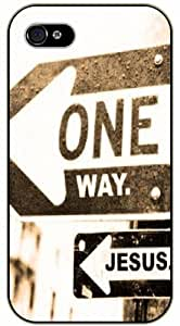 One way, Jesus - Traffic sign - Bible verse iPhone 4 / 4s black plastic case / Christian Verses