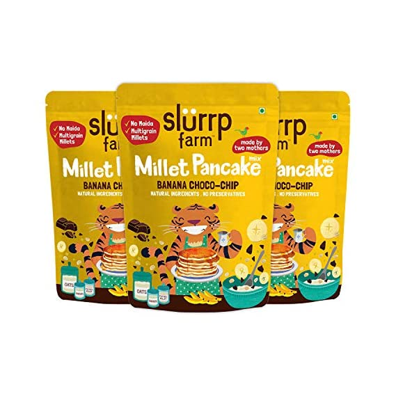 Slurrp Farm No Maida Millet Pancake Mix, Banana Choco-Chip and Supergrains, Natural and Healthy Food, 150g (Pack of 3), Instant Healthy Breakfast Mix