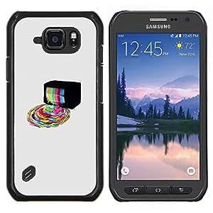 Qstar Arte & diseño plástico duro Fundas Cover Cubre Hard Case Cover para Samsung Galaxy S6Active Active G890A (Psychedelic Rainbow TV)