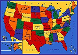 KIDS USA MAP EDUCATIONAL 7X10 AREA RUG ACTUAL SIZE 7\'2 x 10\'2