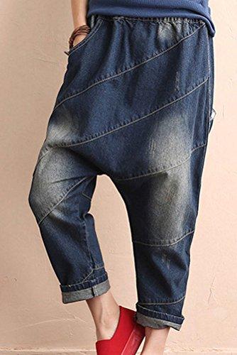 Dlave Bouffant Destroy Longue Harem Pantalon Culotte Patch Style1 avec Jeans MatchLife Femme Fonc Pantacourt bleu T1tHnxax