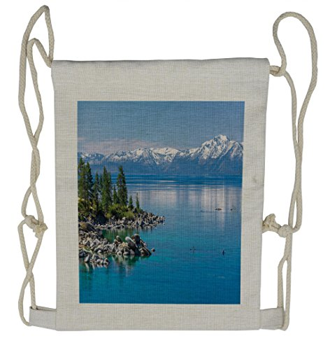 Ambesonne Landscape Drawstring Backpack, Blue Water Lake Tahoe, Sackpack Bag by Ambesonne