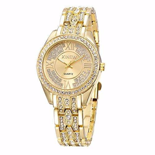 GOTD Fashion Women Ladies Girl Stainless Steel Band Analog Quartz Wrist Watch, Golden