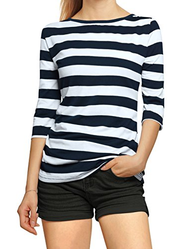 Allegra K Women Elbow Sleeves Boat Neck Rugby Stripe Tee L Dark Blue White