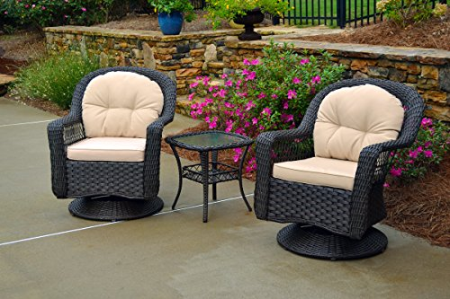 (Tortuga Outdoor Biloxi 3 Piece Swivel Patio Bistro Table Set, Espresso with Beige Cushions)