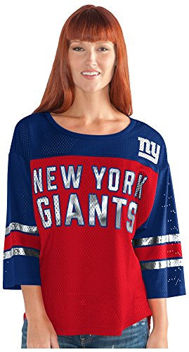 GIII For Her NFL New York Giants Adult Women First Team Mesh Top, Small, Red/Blue