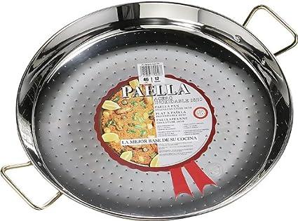 La Ideal Paella sartén de acero inoxidable, plata, 24 cm, 1 ...