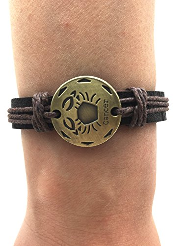 TimeLogo Leather Bracelet for Men Women Girls Jewelry Constellation Braided Rope Bracelet Multilayer Adjustable Bangle Wrist Cuff Wristband Birthday Gift (Cancer) - Shen Leather