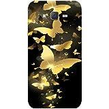 Casotec Golden Butterfly Pattern Design Hard Back Case Cover for Samsung Galaxy J2
