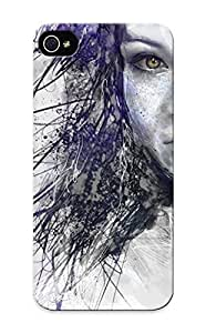 New Tpu Hard Case Premium Iphone 5/5s Skin Case Cover(scribbled Girl) For Christmas Gift