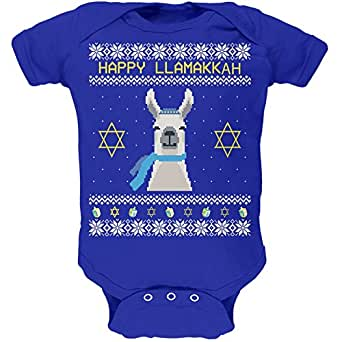 Llama Llamakkuh Ugly Hanukkah Sweater Royal Soft Baby One Piece