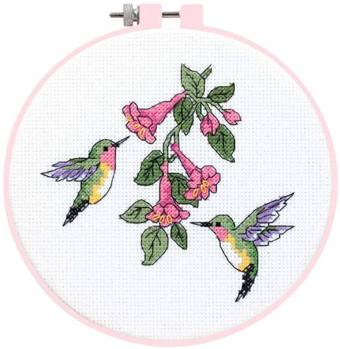 - Dimensions Learn-A-Craft Hummingbird Duo Counted X-Stitch Kit-6 Inch x6 Inch