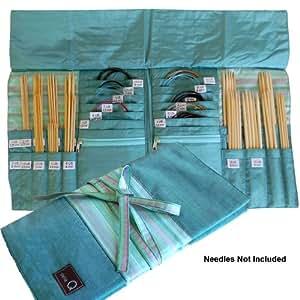 della Q Knitting Case for Double Point & Circular Knitting Needles; 017 Seafoam Stripes 1136-1-017