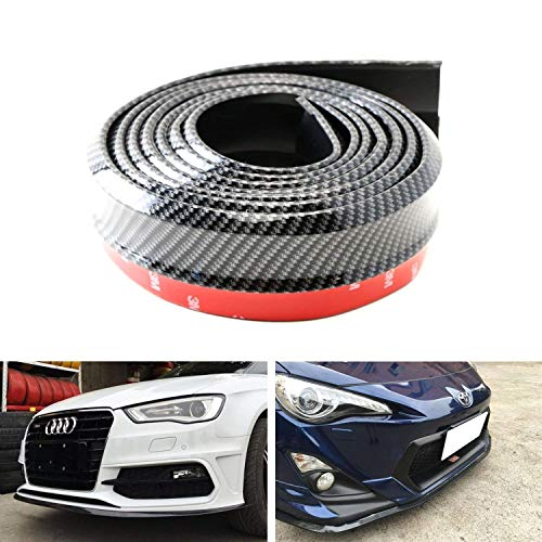 (iJDMTOY Universal PU Front Bumper Lip Splitter Chin Spoiler Body Kit Trim, 8ft (2.5 Meters), Carbon Fiber)