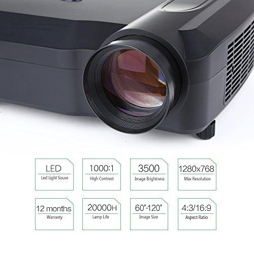 Crenova XPE650 Proyector HD 3200 Lúmenes Resolución 1280*768 Pantalla de Vídeo de 120 Pulgadas Compatible con Entradas HDMI VGA USB...
