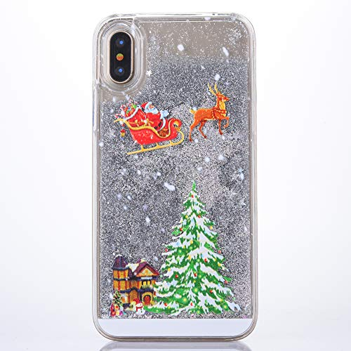 Fusicase for iPhone X/XS Liquid Case Christmas Case Style Christmas Tree Rudolph Pattern Flowing Liquid Floating Luxury Bling Glitter Sparkle Case Cover for iPhone X/XS