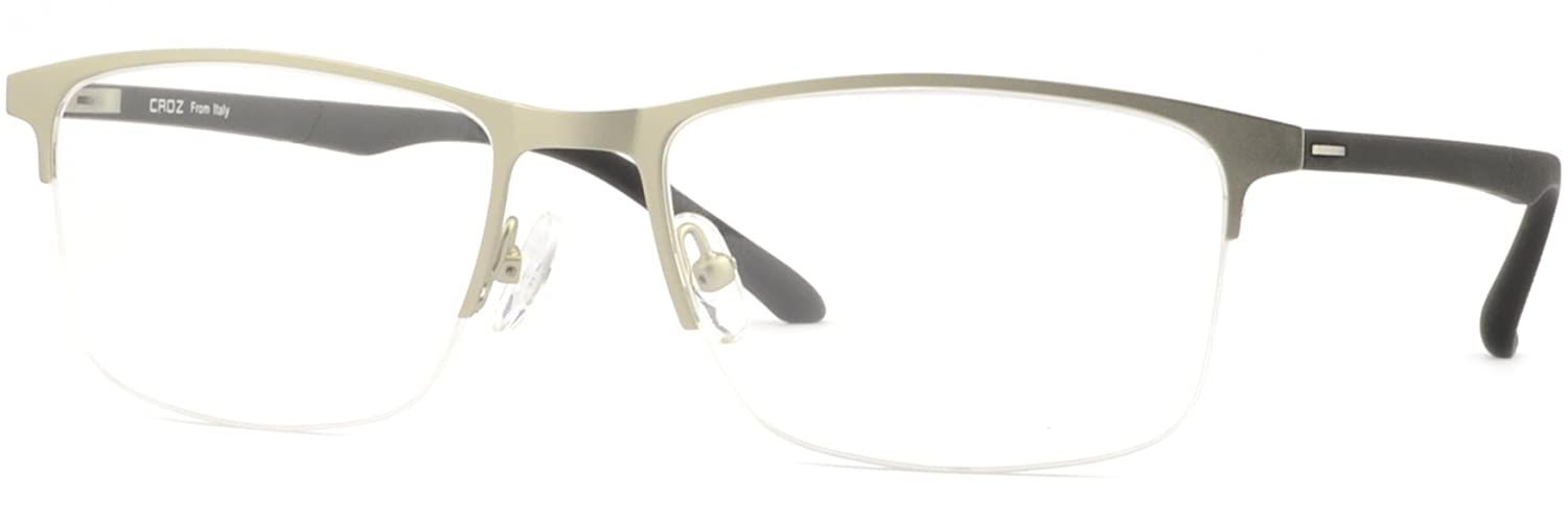 bf2dcd722a Amazon.com  Wide Square Light Men s Titanium Frames Half Rim Prescription  RX Glasses Silver  Clothing