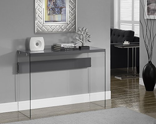 Monarch Specialties Glossy Grey Hollow Core/Tempered Glass Sofa Table,  32 Inch